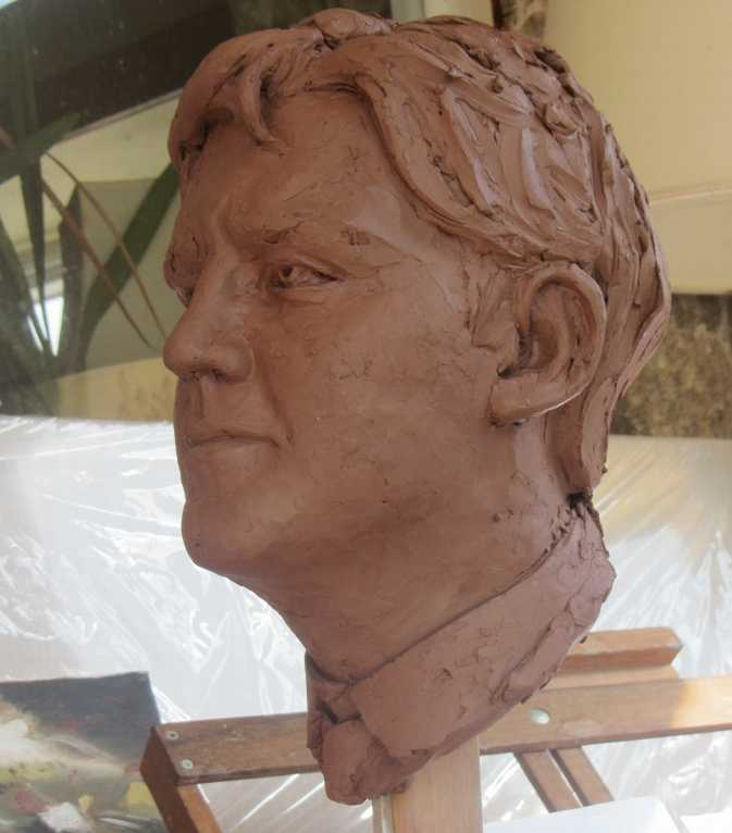 Colin Caffell sculpture commissions. Celebrity portrait